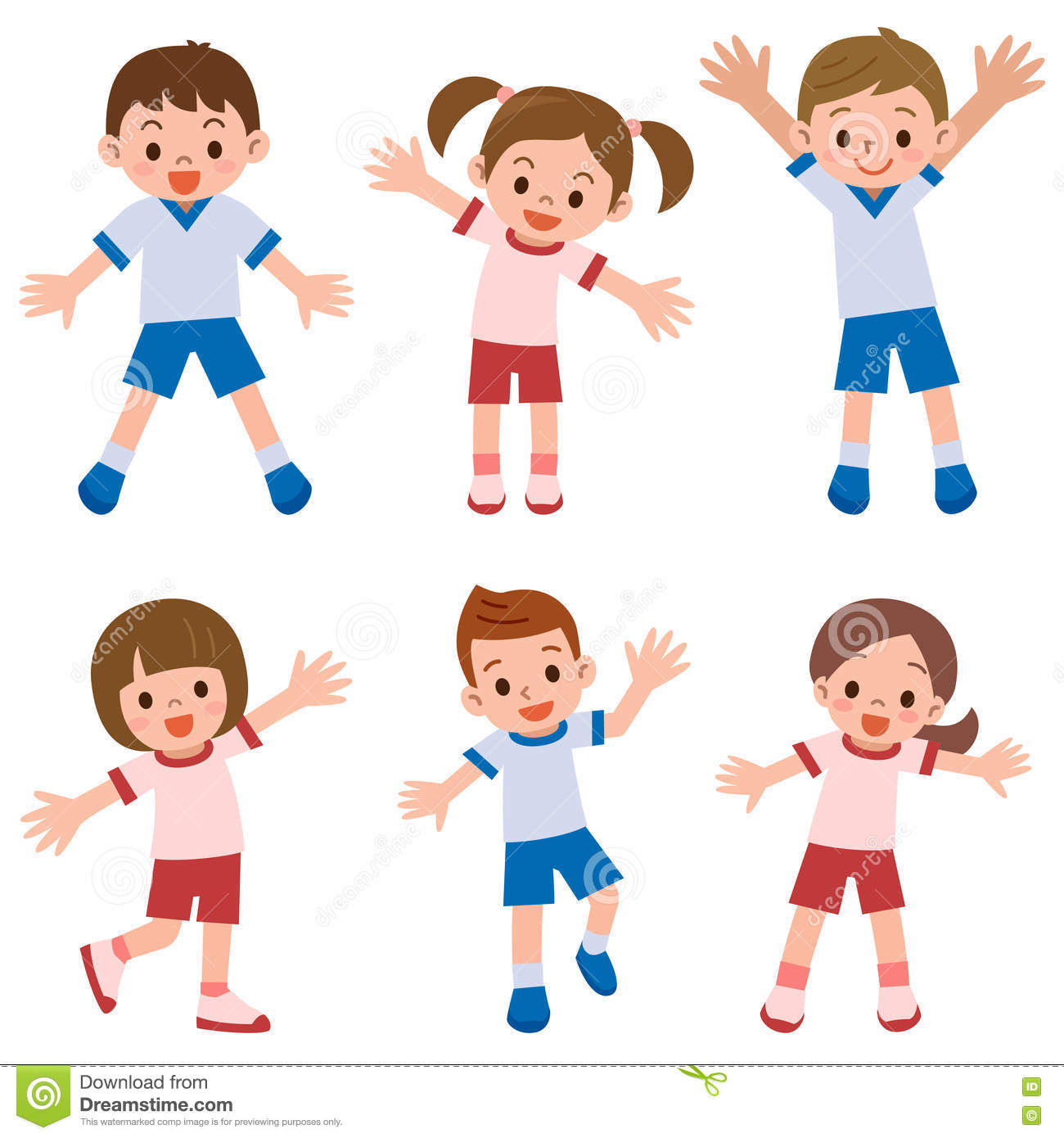 Children Of Exercise Clothes Stock Vector