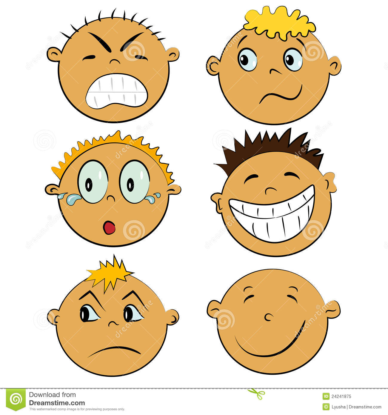 Children Faces Set People Emotions Stock Vector