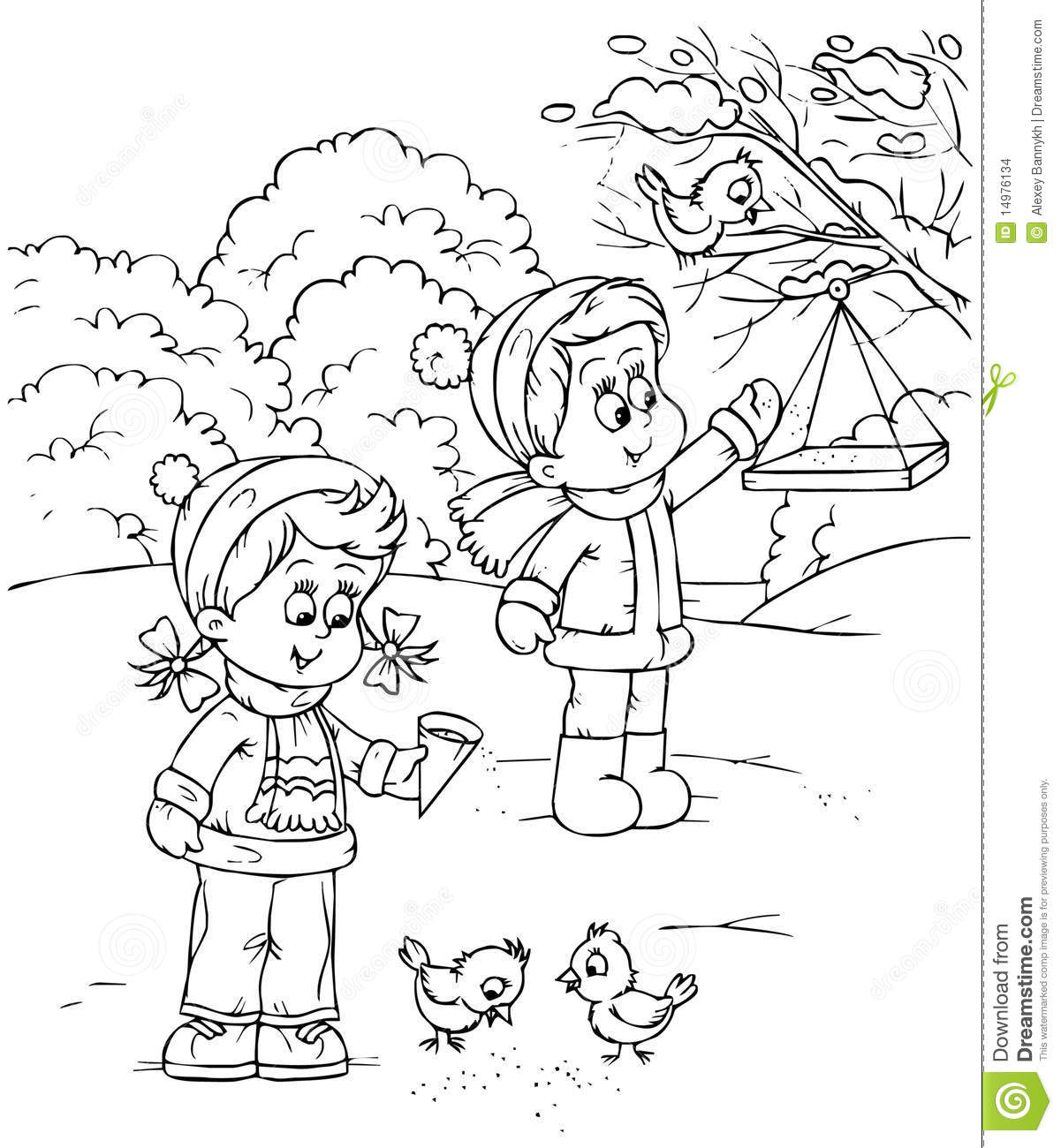 Children Feed Birds Stock Images