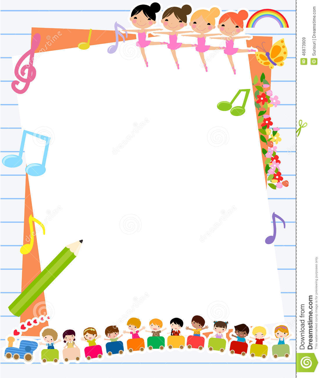 Children And Frame Stock Vector