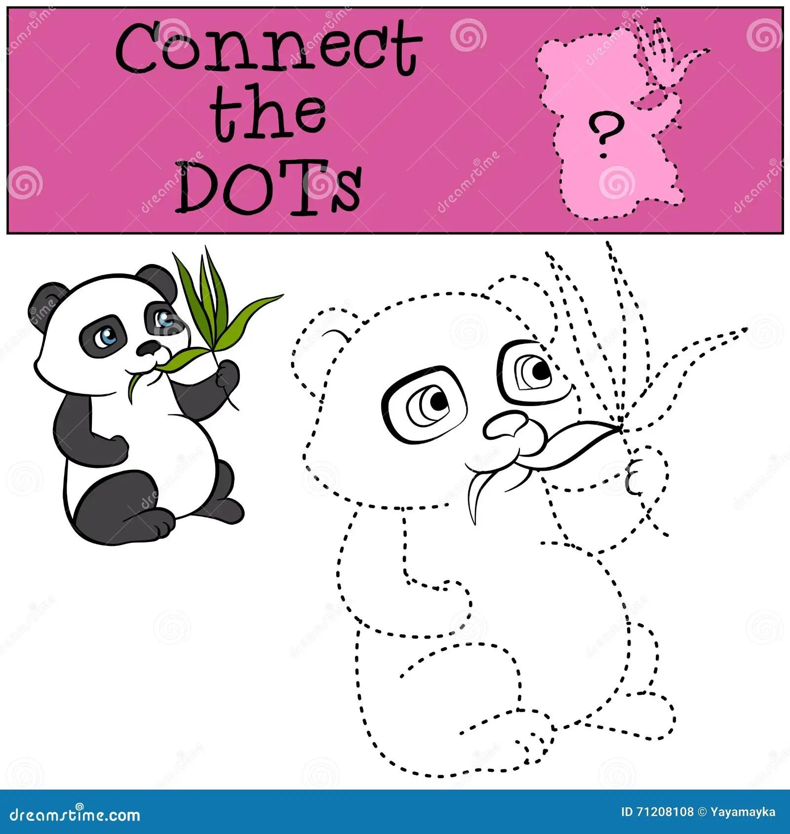 Children Games Connect The Dots Little Cute Panda Stock