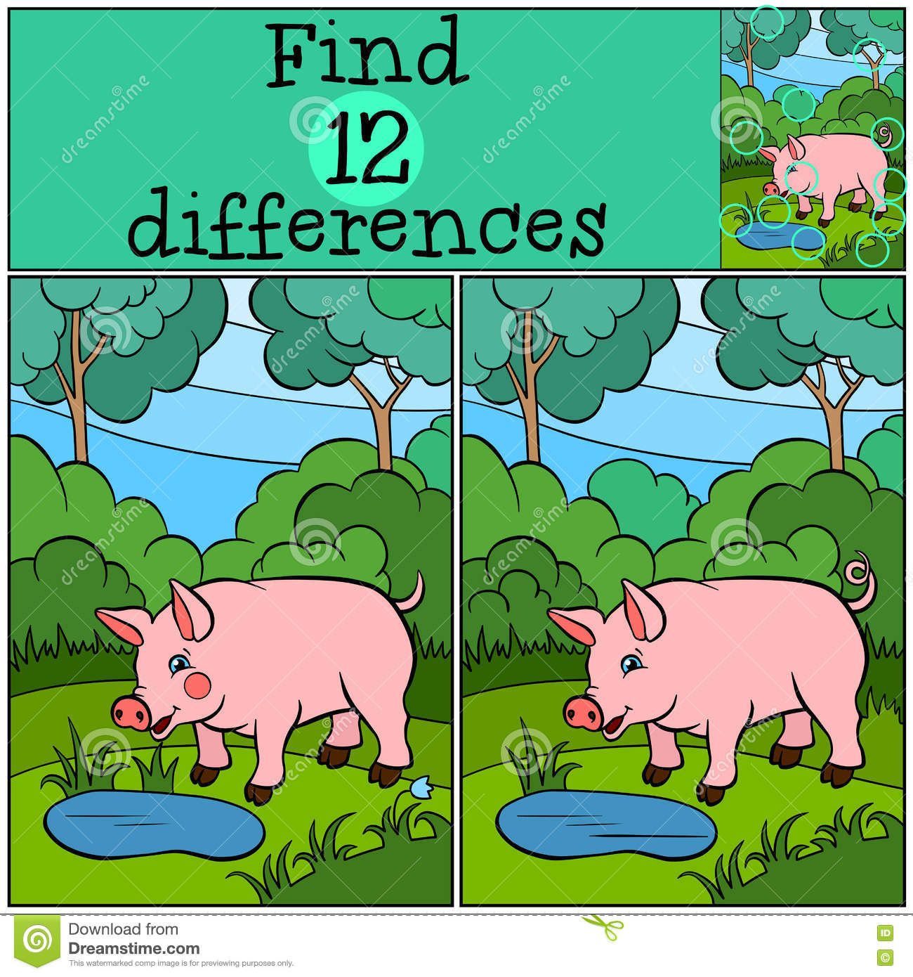 Children Games Find Differences Little Cute Pig Stock