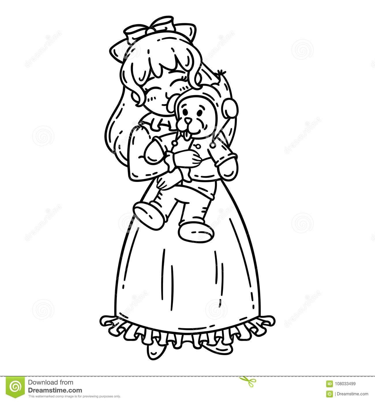 Little Girl Holding Toy Isolated Objects On White