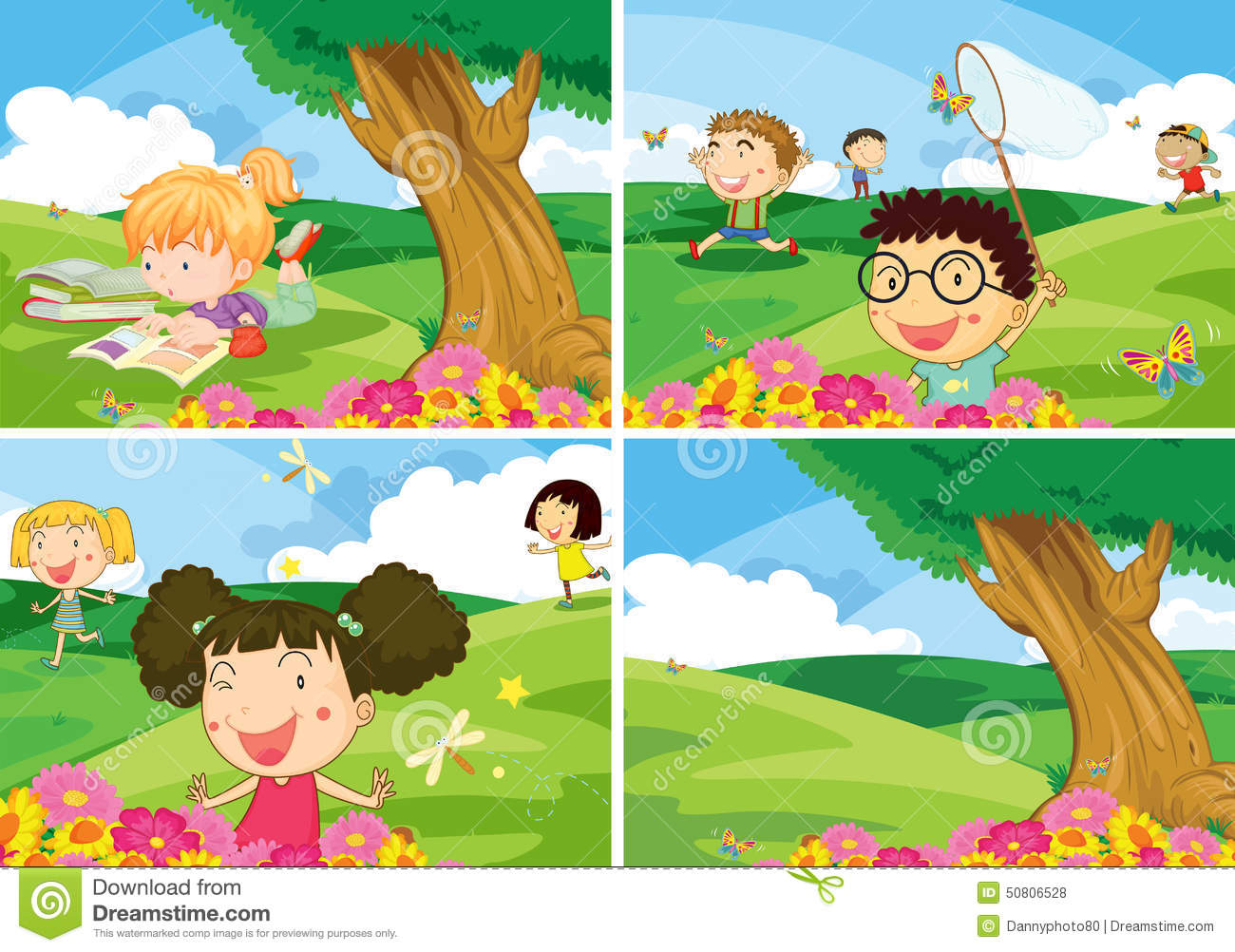 Children And Park Stock Vector Image Of Landscape