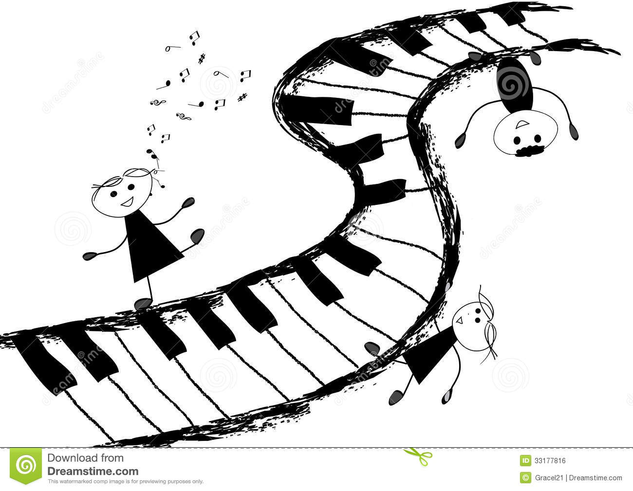 Children And Piano Keyboard Stock Vector
