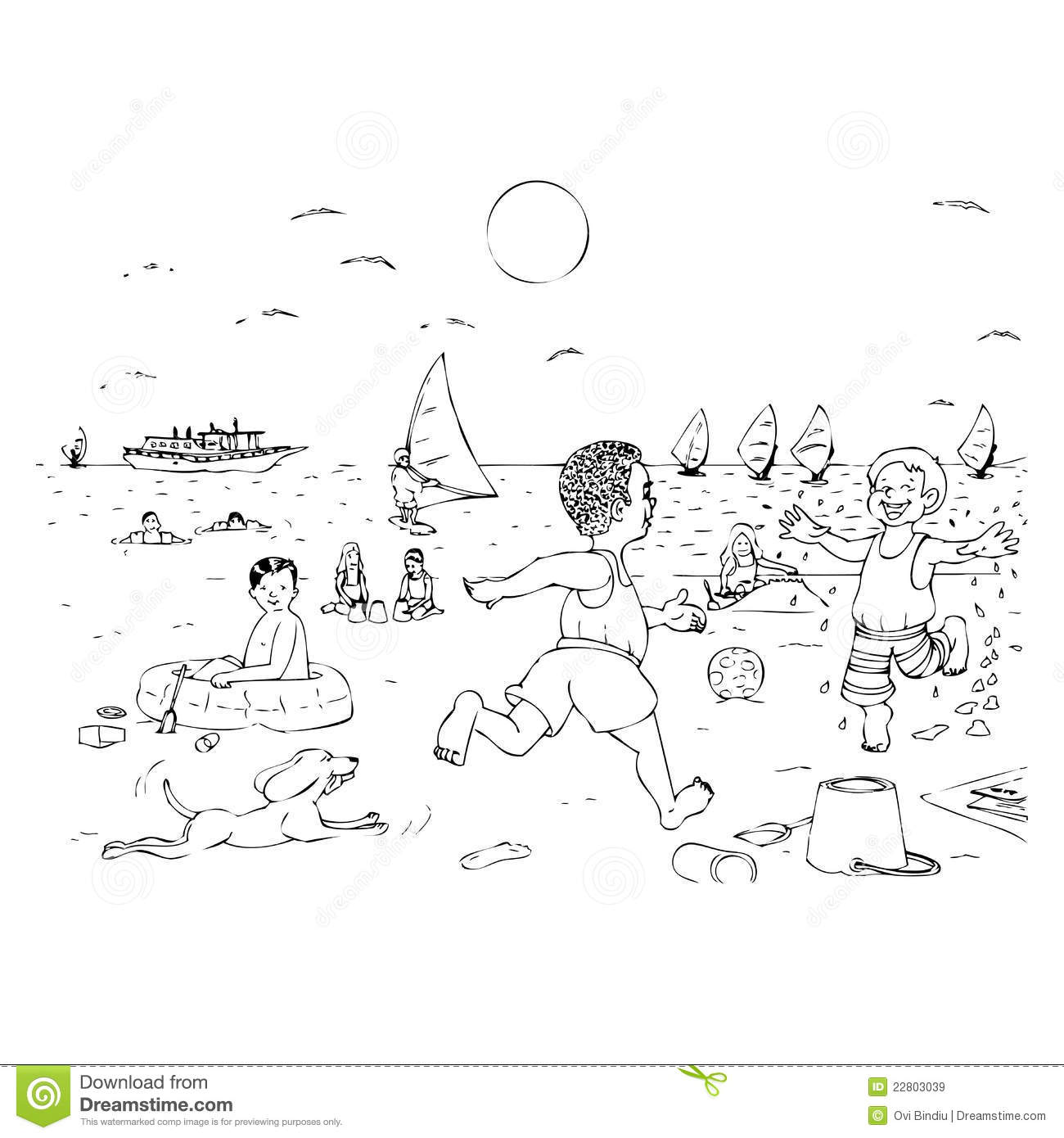 Children Playing On The Beach Stock Illustration