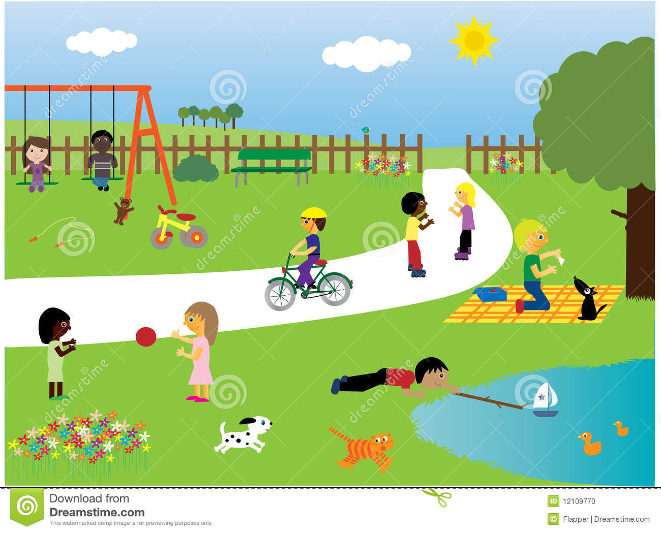 Children Playing In The Park Stock Vector