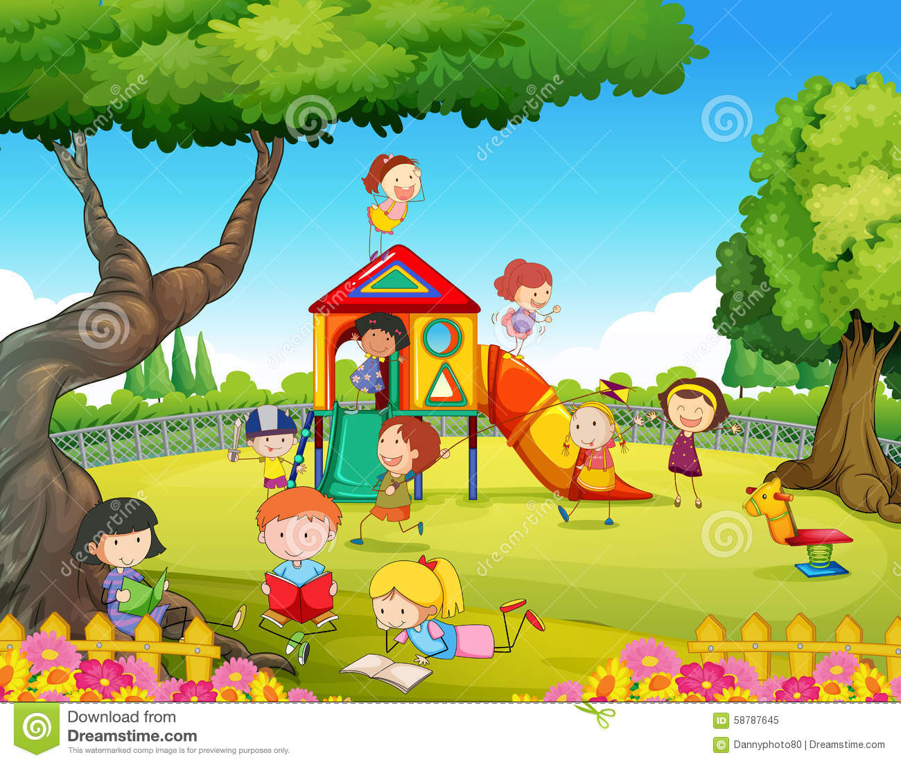 Children Playing In The Playground Stock Vector