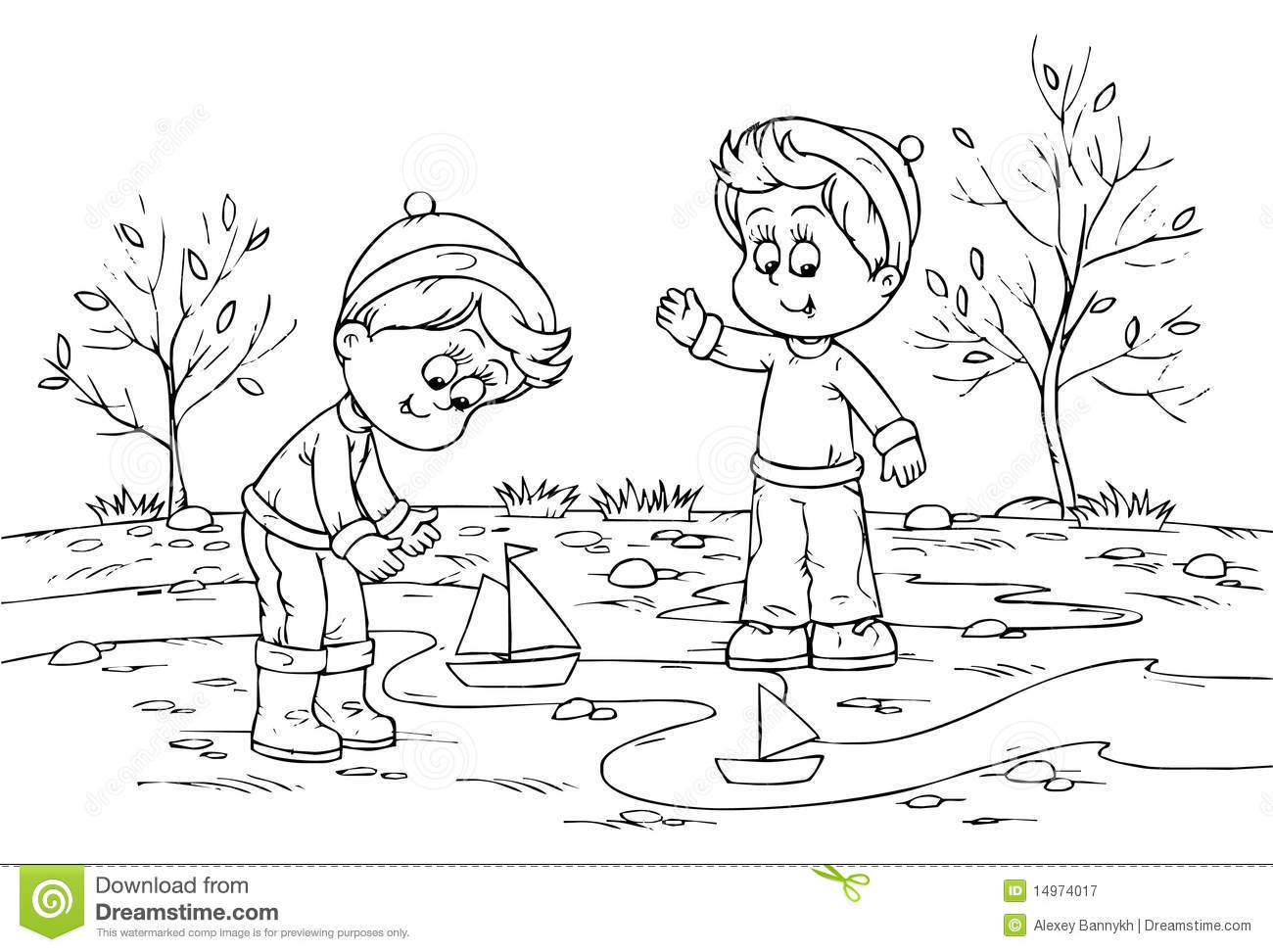Children Playing With Toy Ships Royalty Free Stock