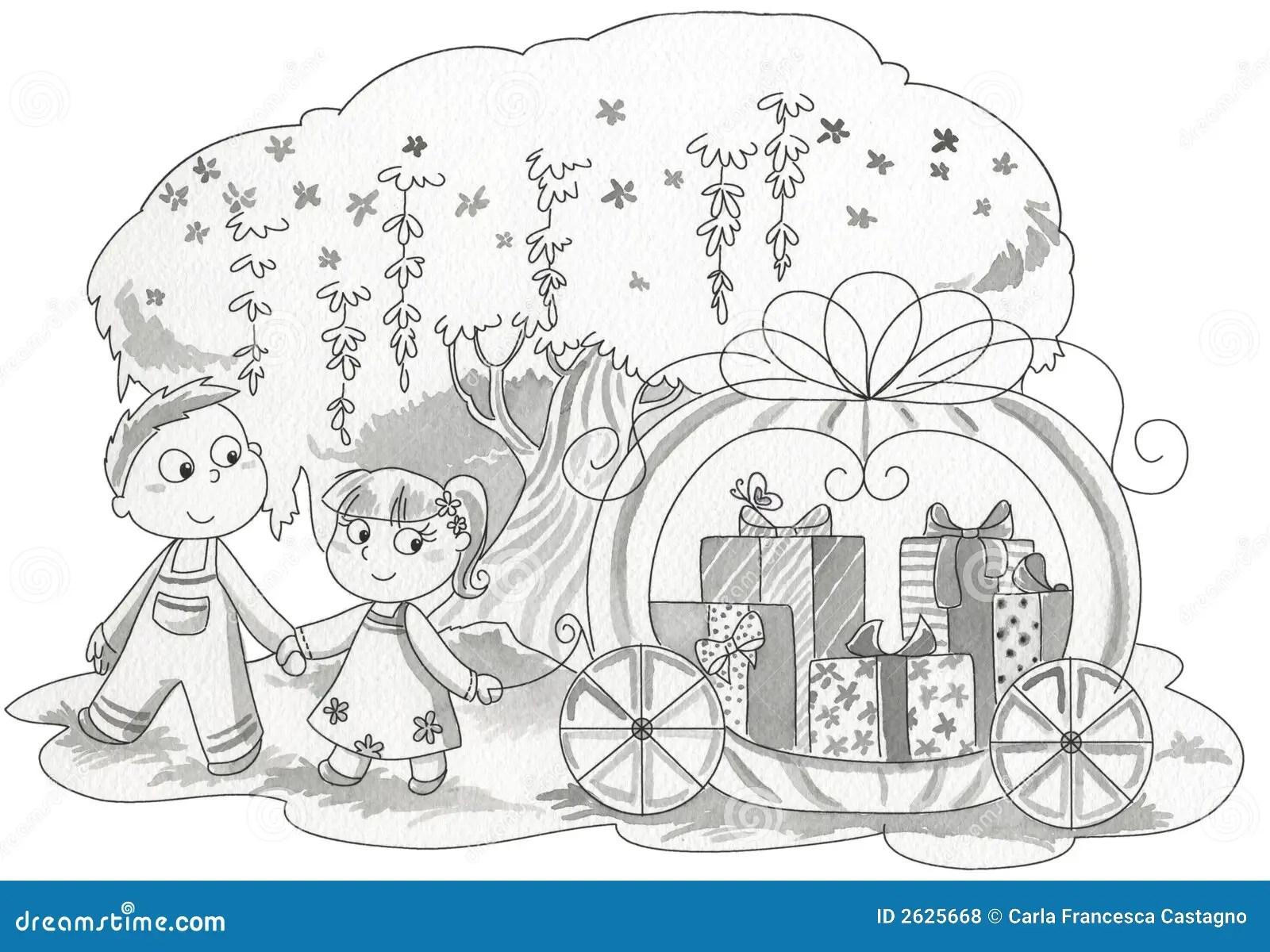 Children Pulling T Wagon Royalty Free Stock Photos