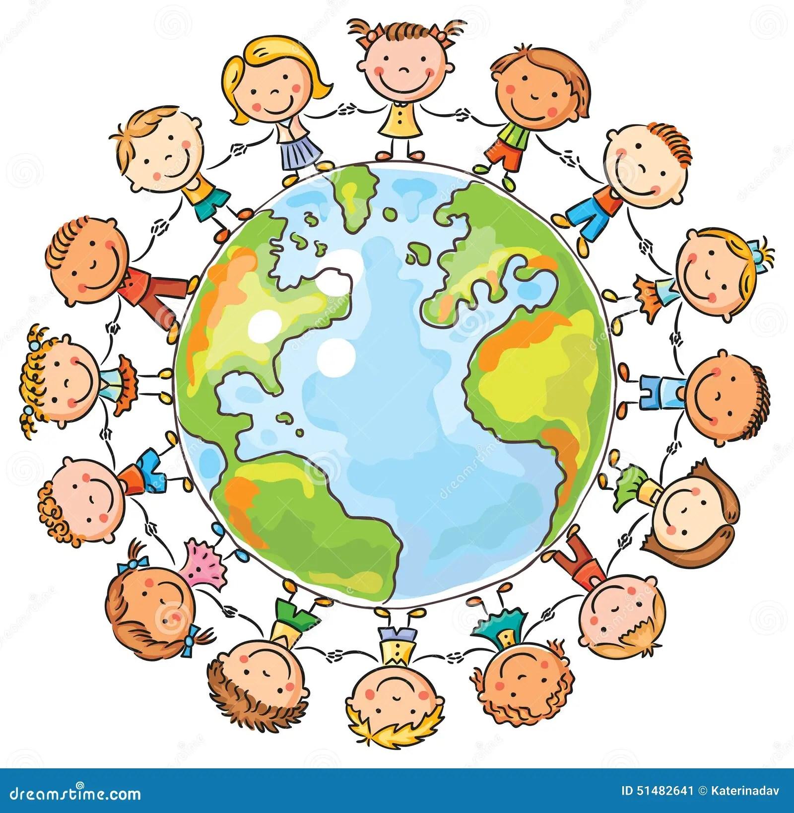Children Round The Globe Stock Vector