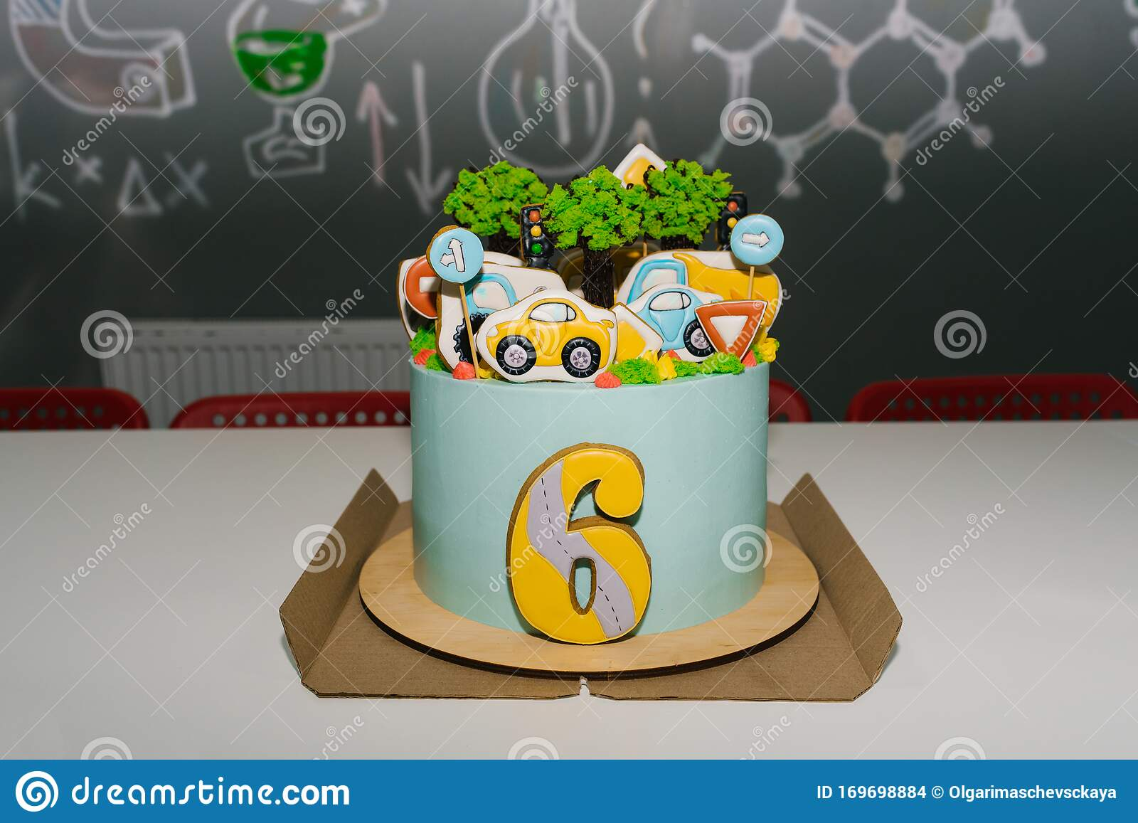 Children S Birthday Cake For A 6 Year Old Boy With Cars Stock Photo Image Of Color Bake 169698884