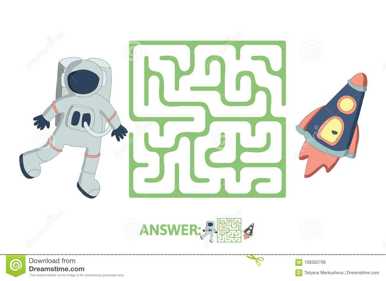 Children S Maze With Astronaut And Rocket Puzzle Game For