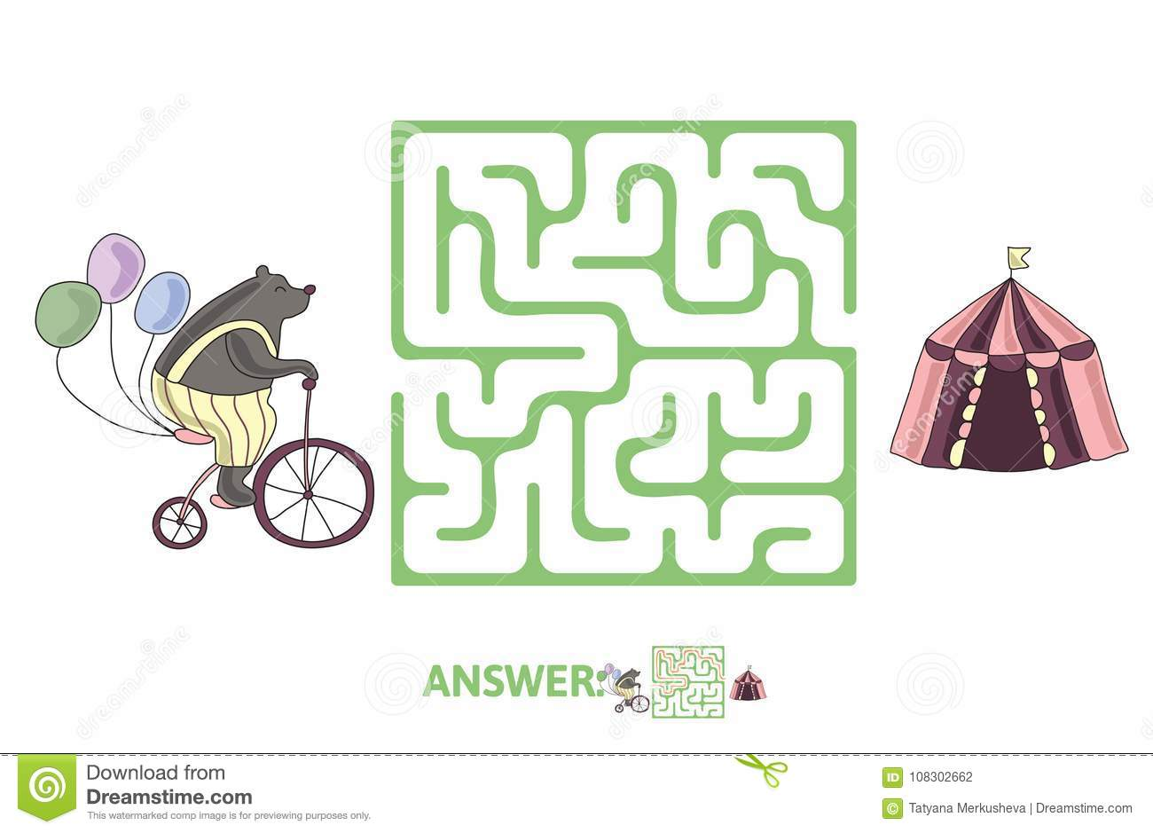 Children S Maze With Bear On A Bike And Circus Tent