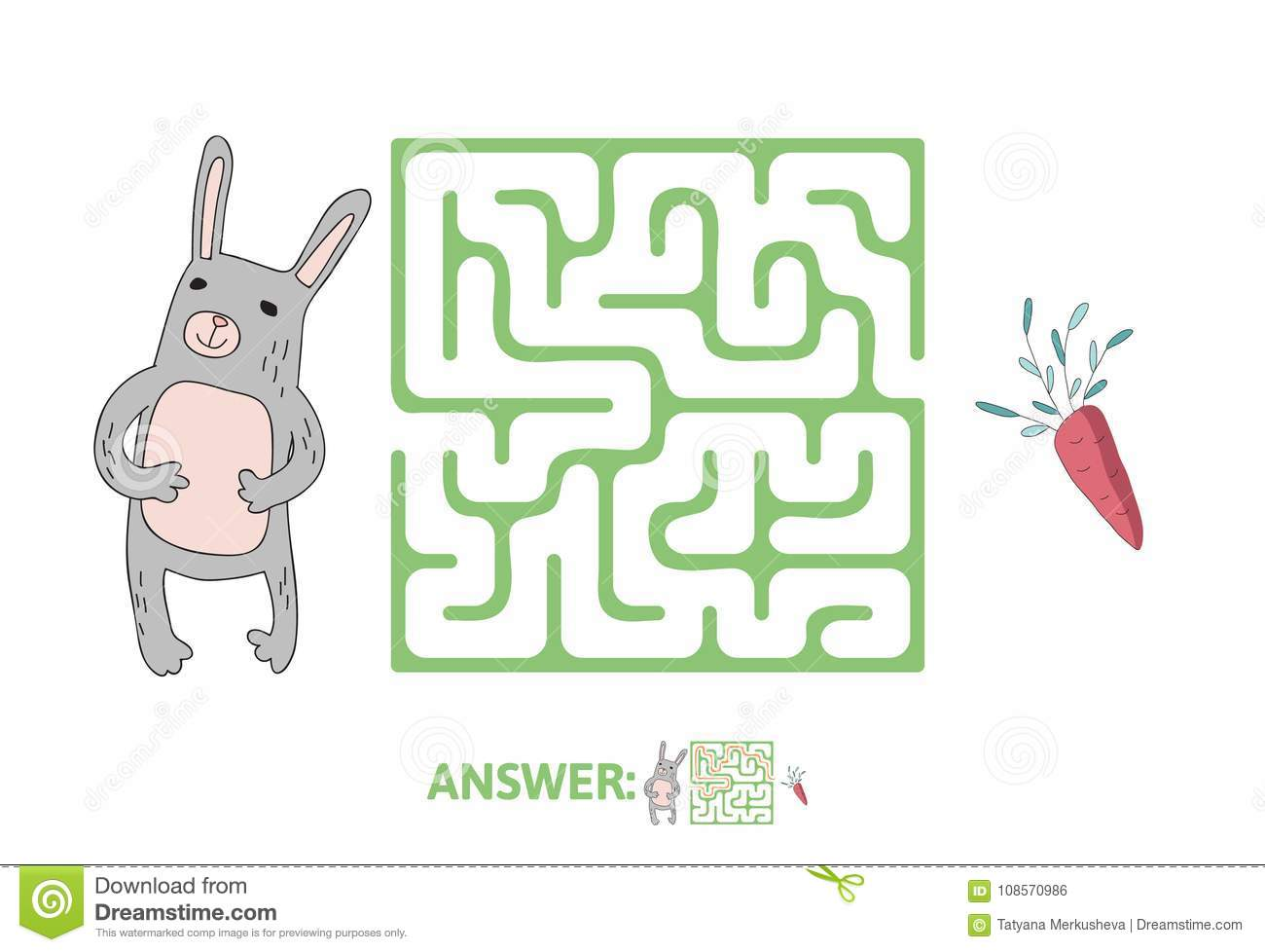 Children S Maze With Rabbit And Carrot Puzzle Game For