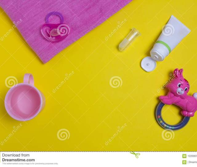 Childrens Toothpaste And Brush On A Yellow Background Childrens Toys And