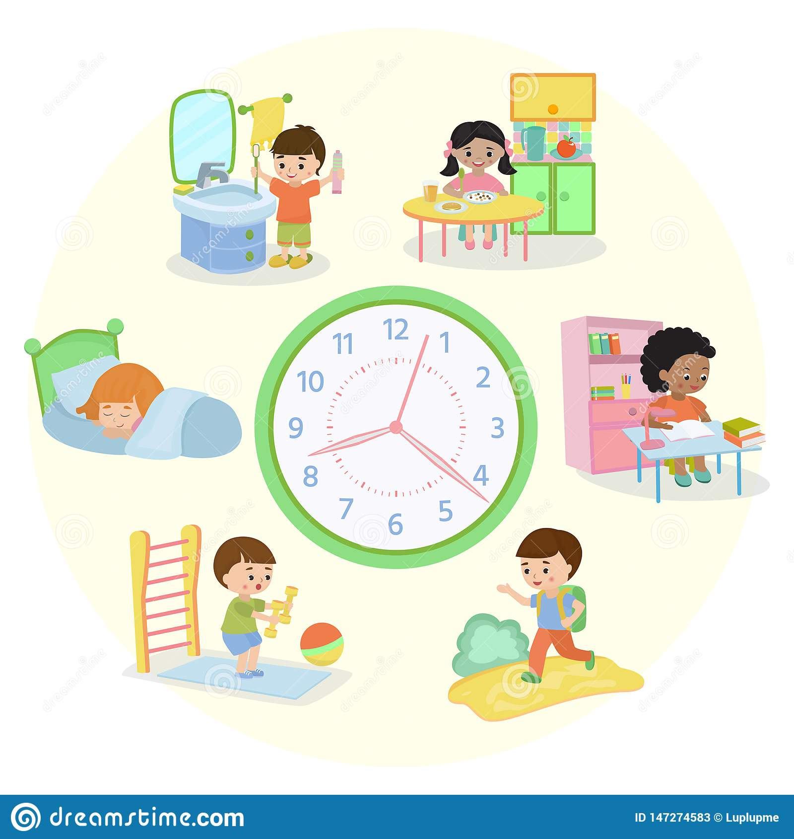 Children Schedule Banner Vector Illustration Daily