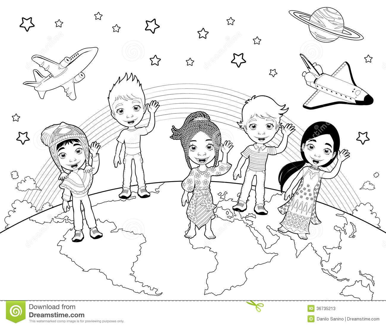 Children On The World In Black And White Stock Vector