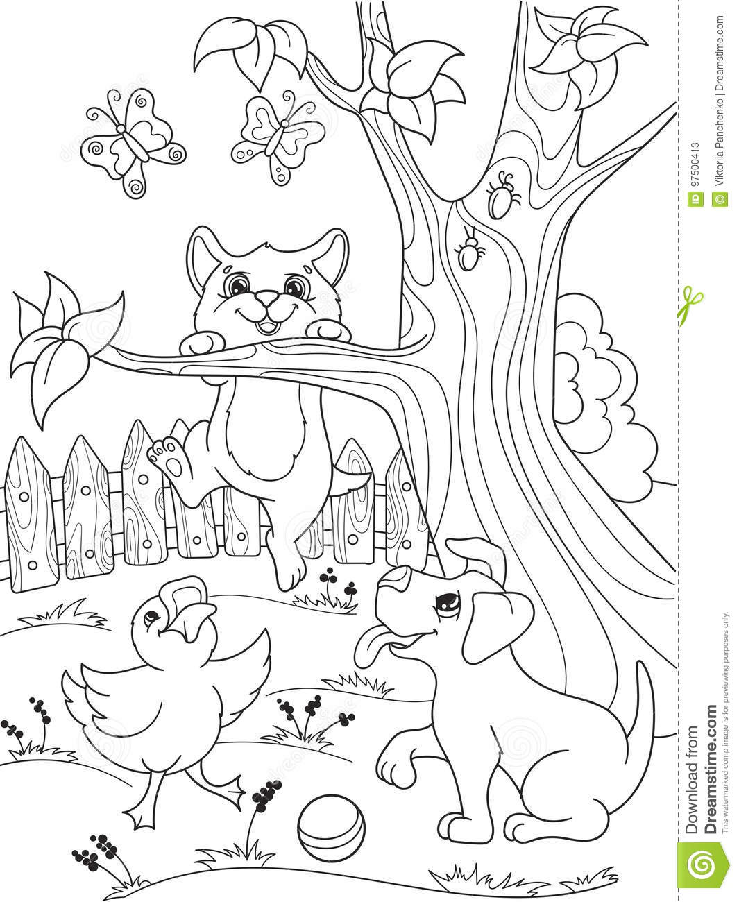 Childrens Coloring Cartoon Animals Friends In Nature