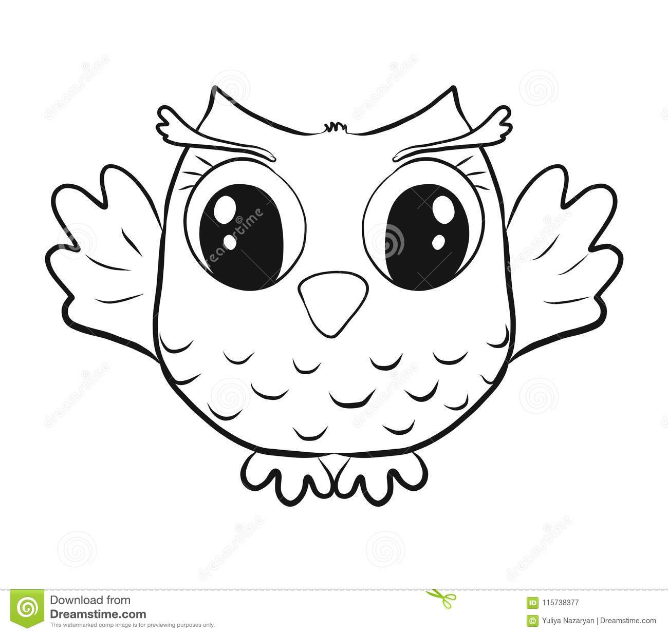Childrens Coloring Funny Little Owl Stock Illustration