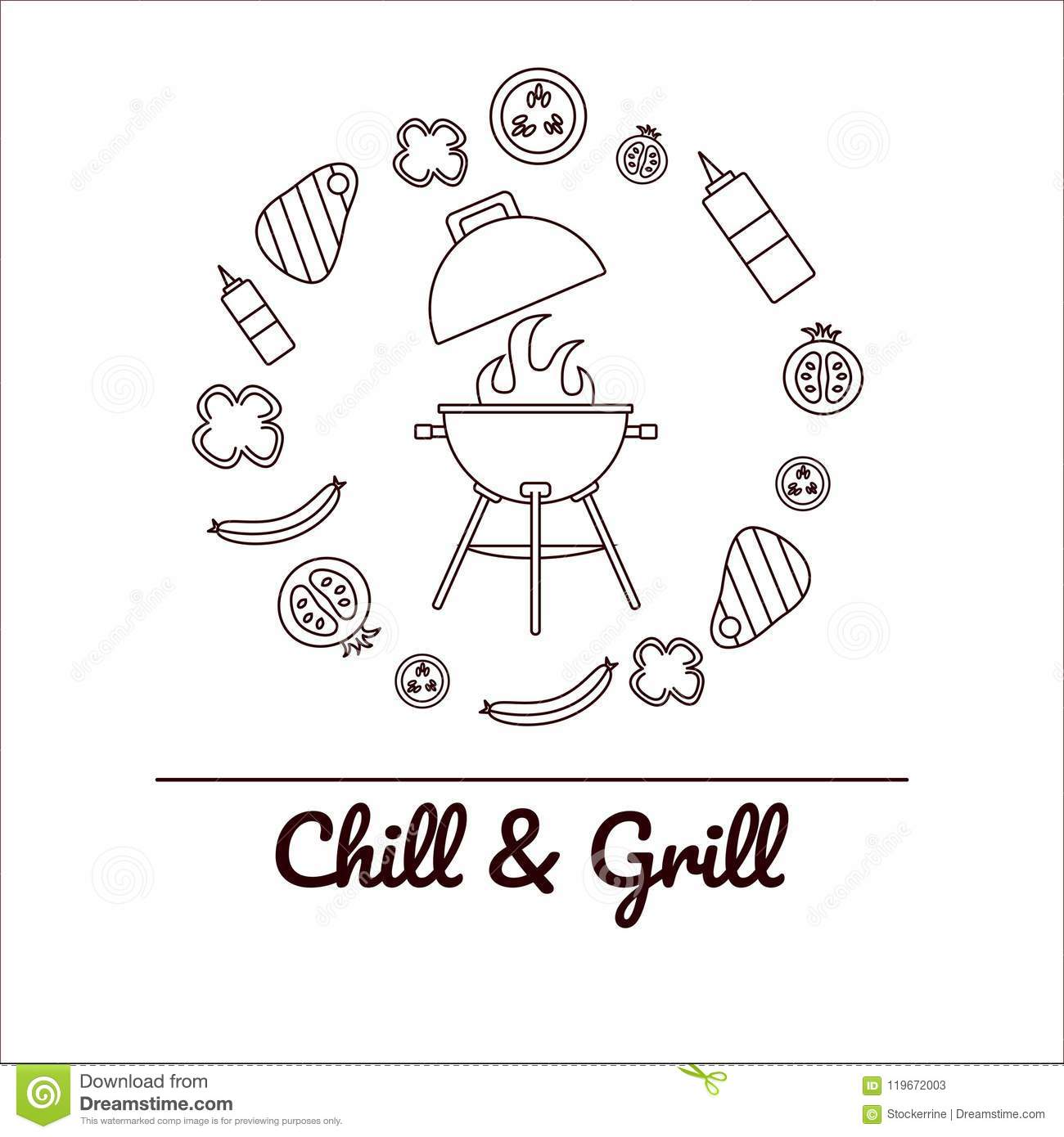 Chill And Grill Party Vector Illustration With Grill In