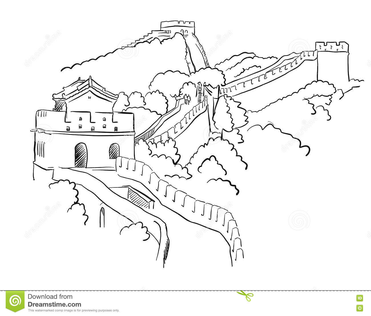 China Great Wall Vector Sketch Stock Vector