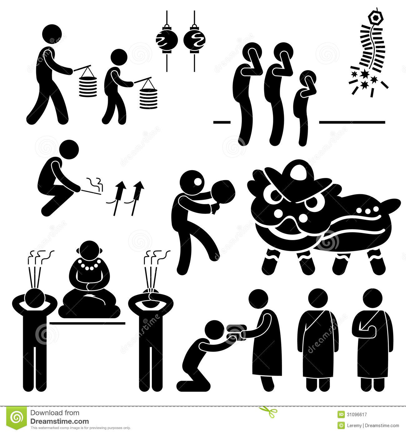 Chinese Asian Religion Tradition Stick Figure Pict Royalty