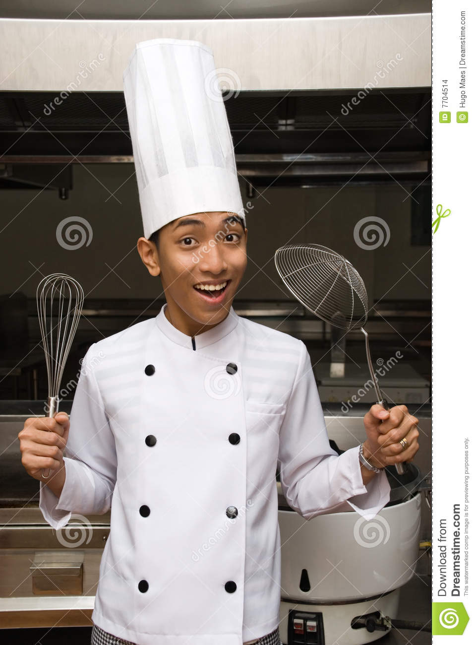 Chinese Chef Showing Utensils Stock Images Image 7704514