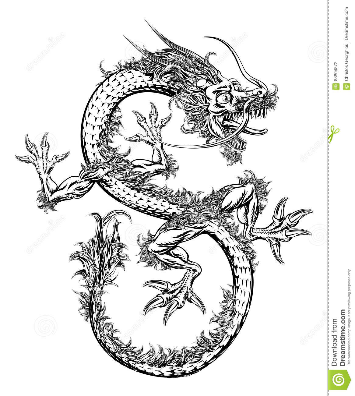 Chinese Or Japanese Oriental Dragon Stock Vector