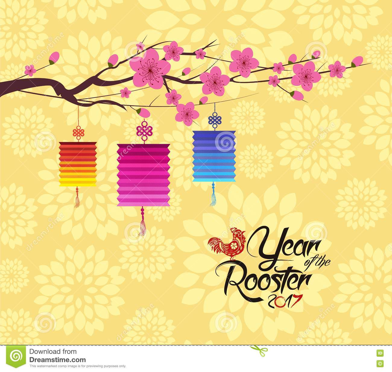 chinese new year 2017 lantern and blossom background stock vector
