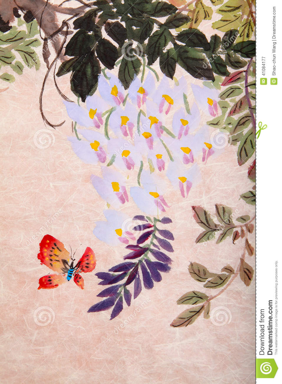 Chinese Painting Of Flowers And Butterfly Stock