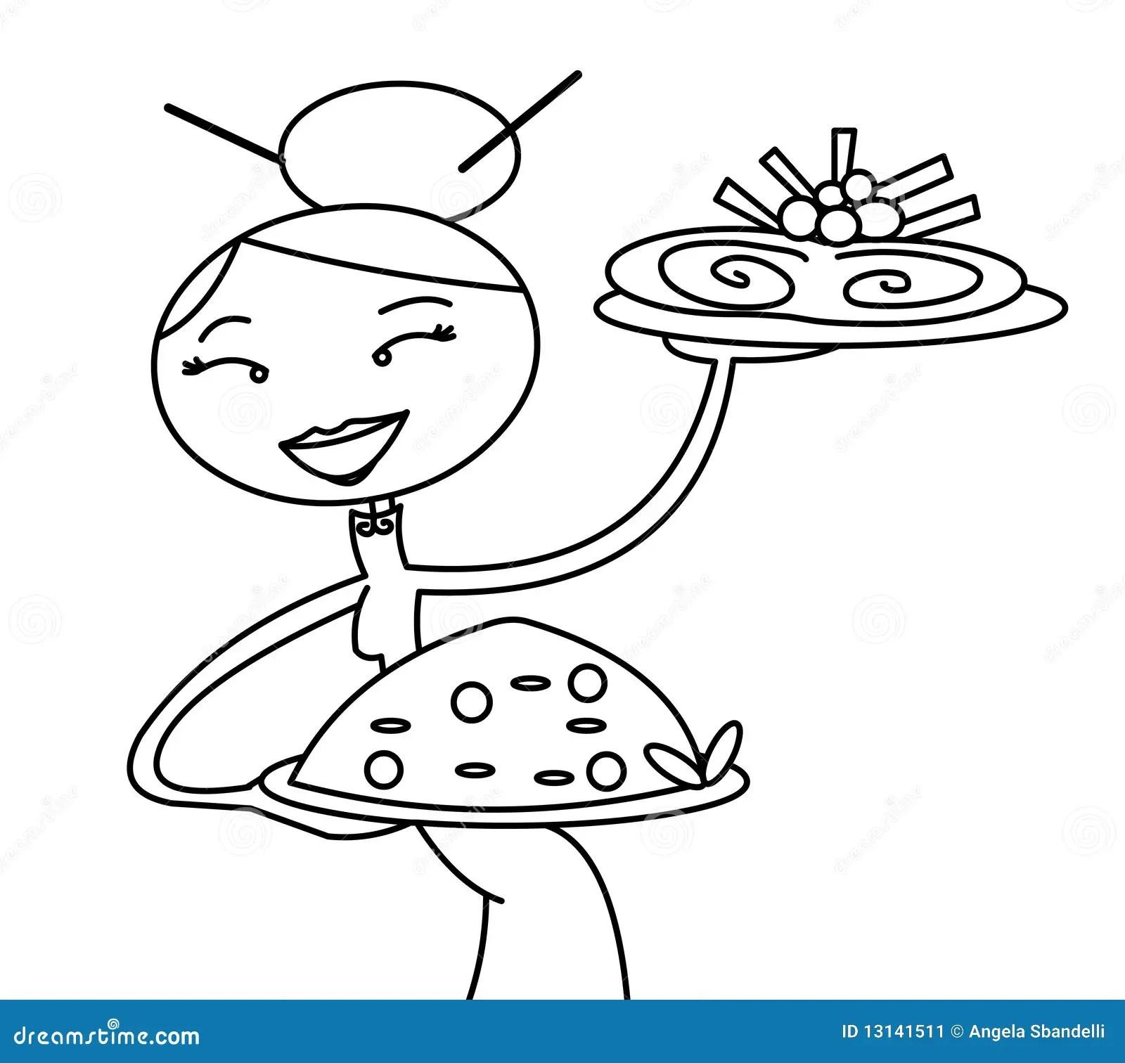 Chinese Serveerster Stock Illustratie Illustratie