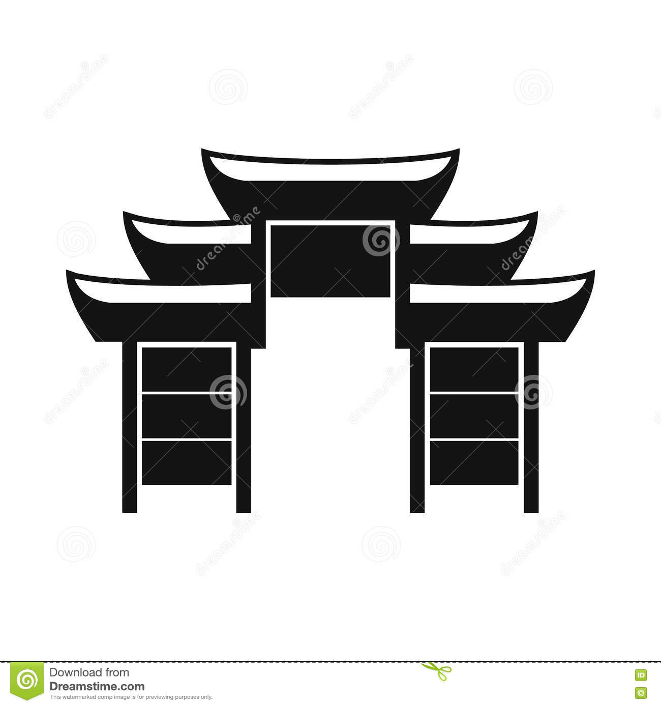 Pagoda Icon Simple Style Cartoon Vector