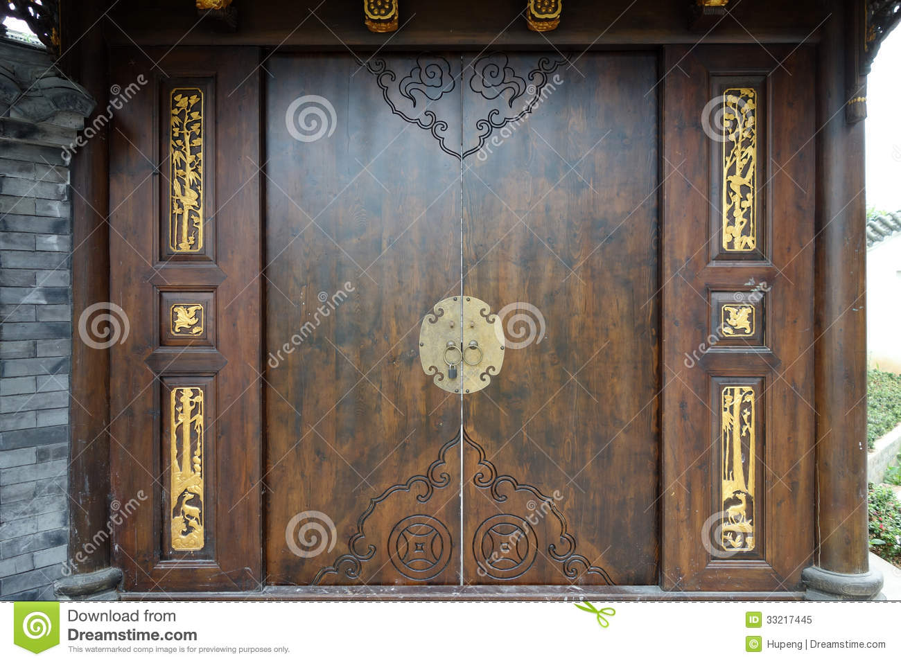 Chinese Wooden Door Royalty Free Stock Photo Image 33217445
