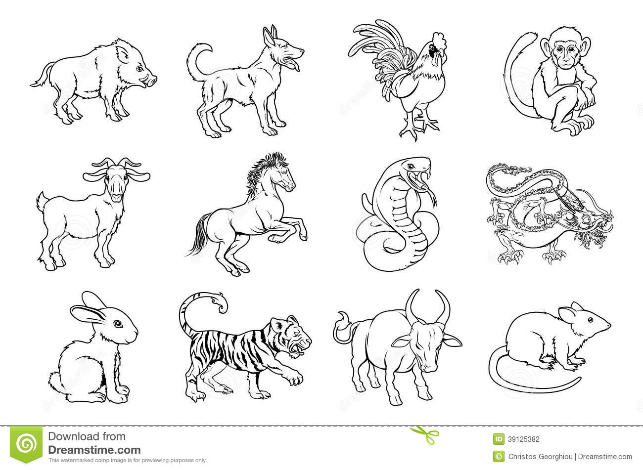 Chinese Zodiac Signs Stock Vector Illustration Of Chinese
