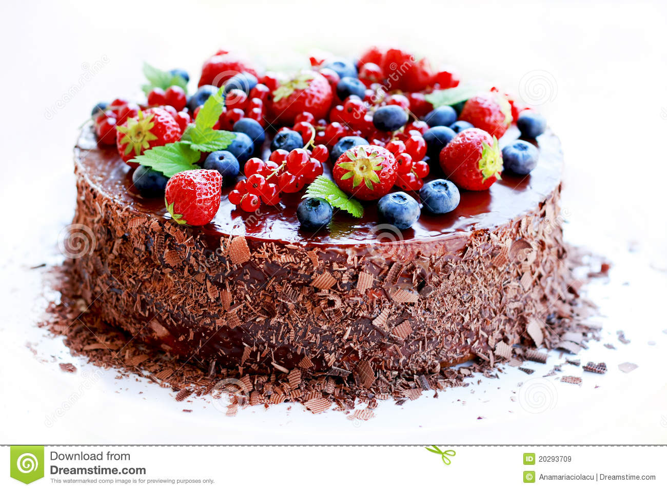 Chocolate Cake Decorated With Fruits Stock Image