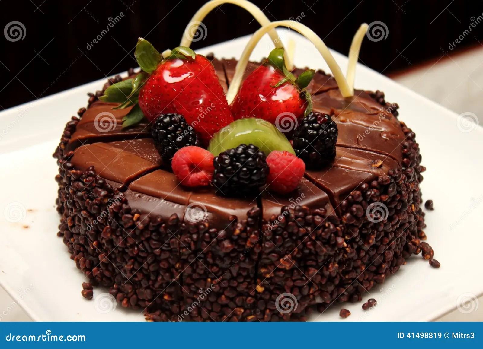 Chocolate Cake With Fresh Fruit Decoration Stock Image