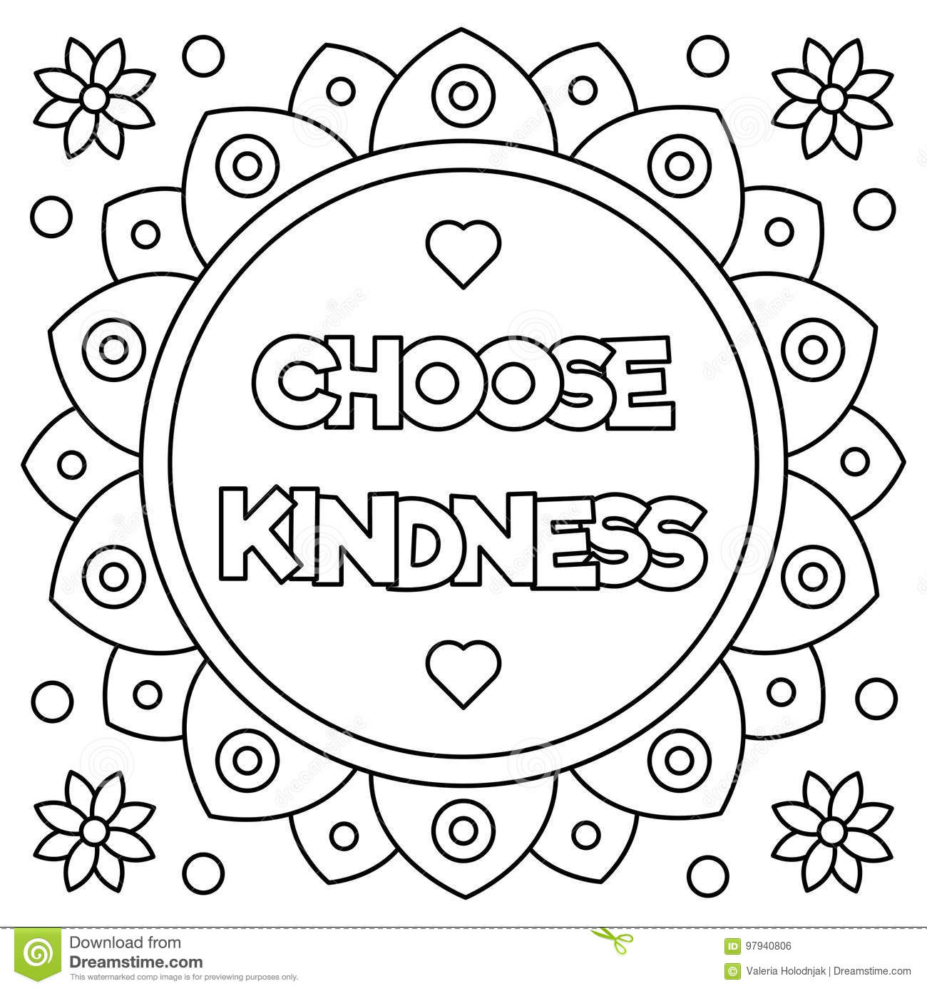Choose Kindness Coloring Page Vector Illustration Stock