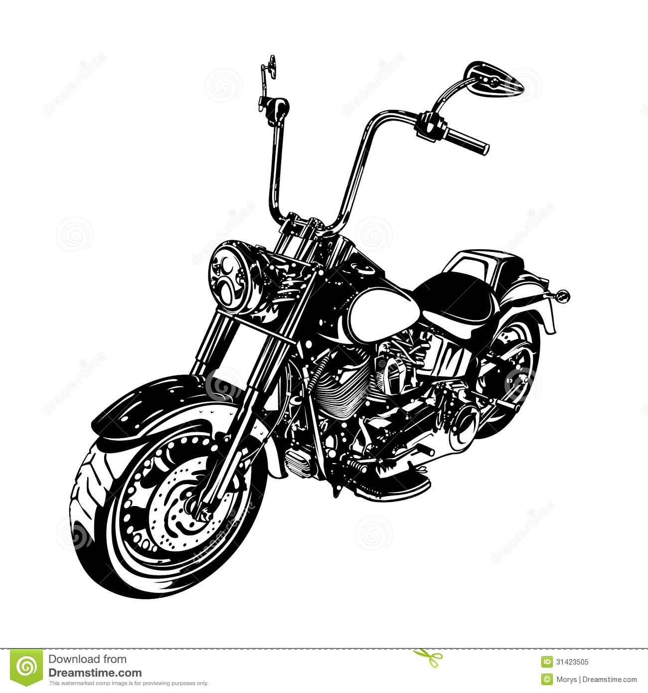 Chopper Customized Motorcycle Stock Vector