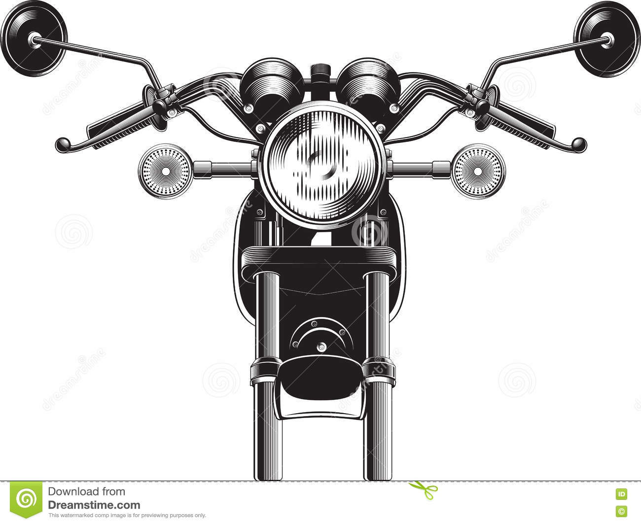 Chopper Motorcycle Front Side Stock Vector