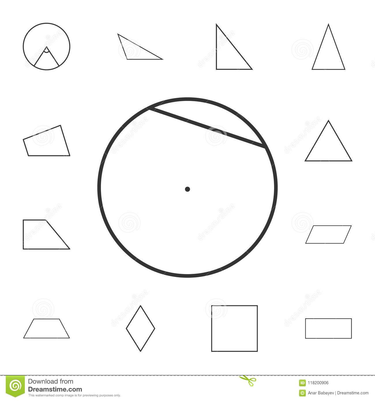 Chord Of A Circle Outline Icon Detailed Set Of Geometric