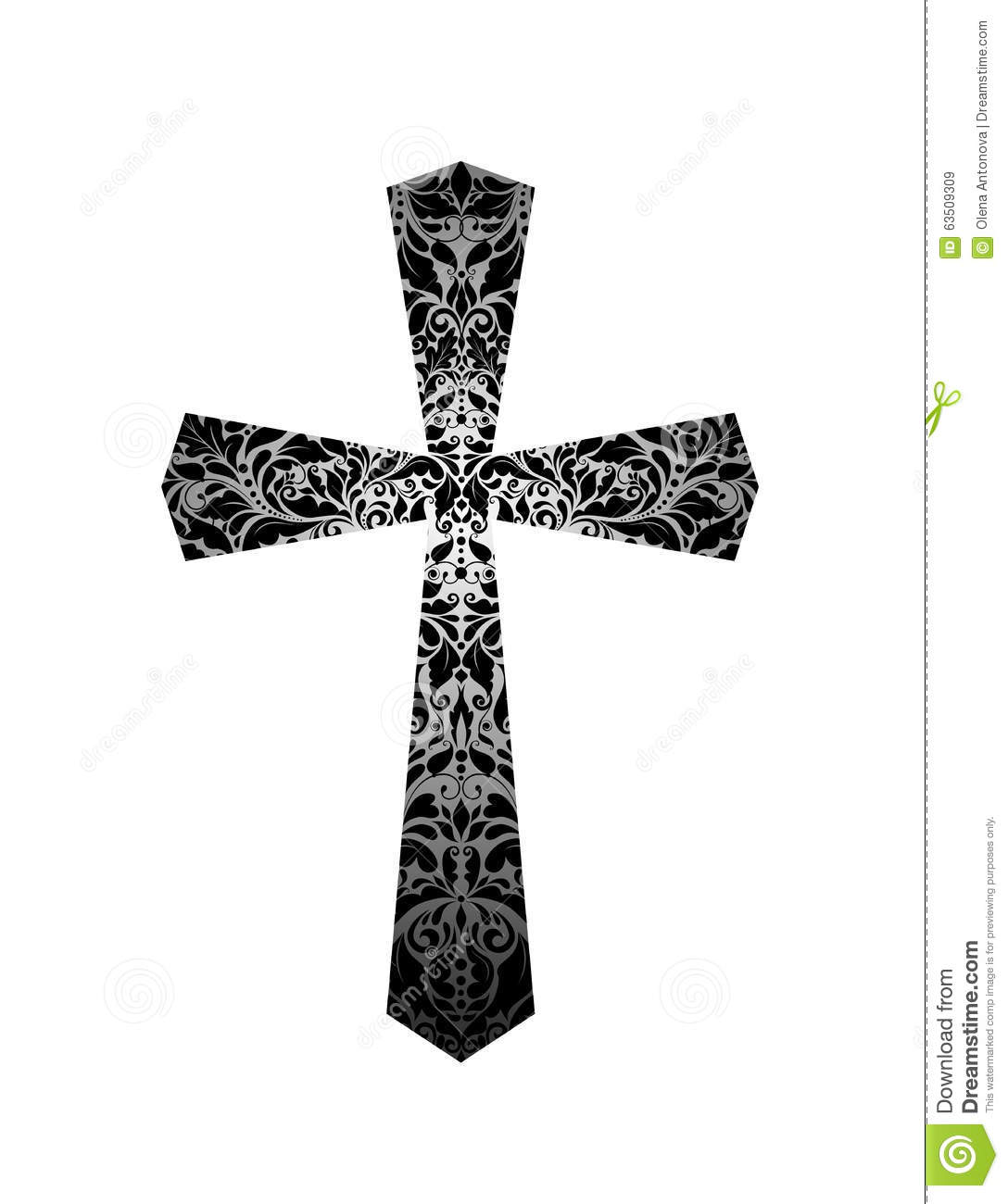 Christian Cross With Floral Vintage Pattern Black And