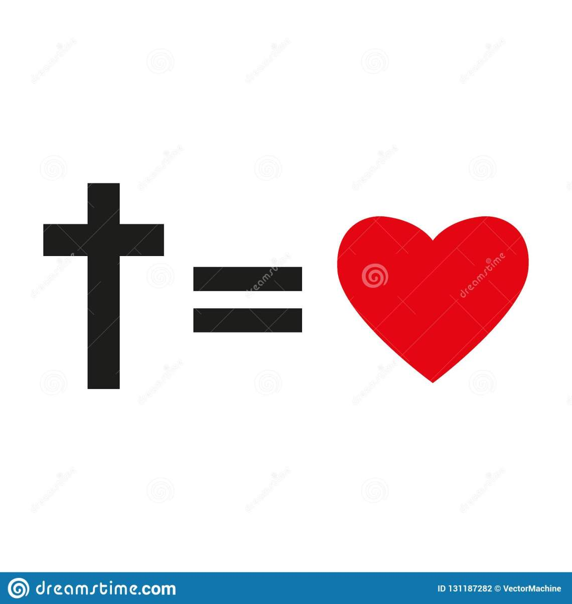 Download Christian Cross And Silhouette Of Heart. Symbol Of ...