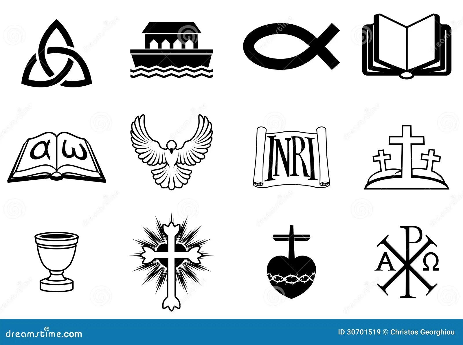Christian Icons Stock Vector Illustration Of Alpha Black
