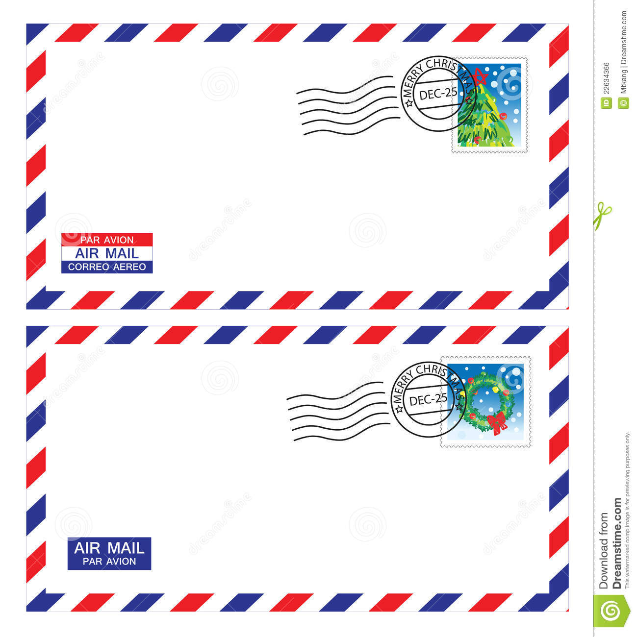 Christmas Airmail Envelope Stock Illustration Illustration Of Address 22634366