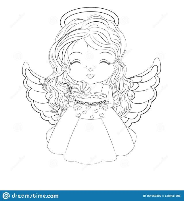 Christmas Angel Coloring Stock Illustrations – 20 Christmas Angel