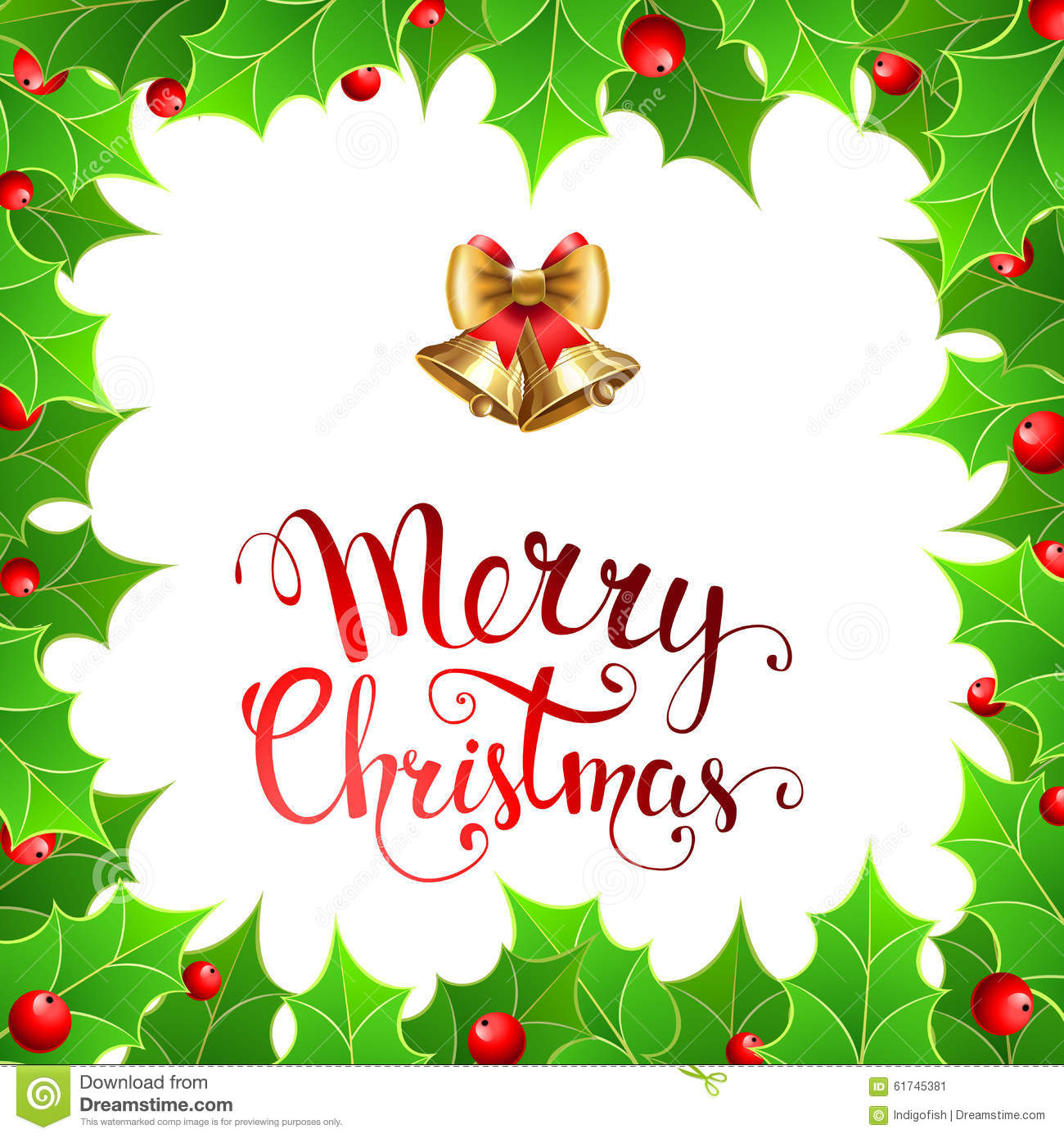 Christmas Background With Holly Berry And Handwritten Text