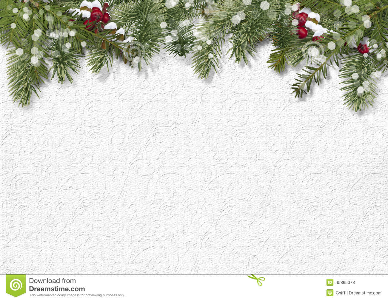 Christmas Background With Hollyfirtree Stock Photo