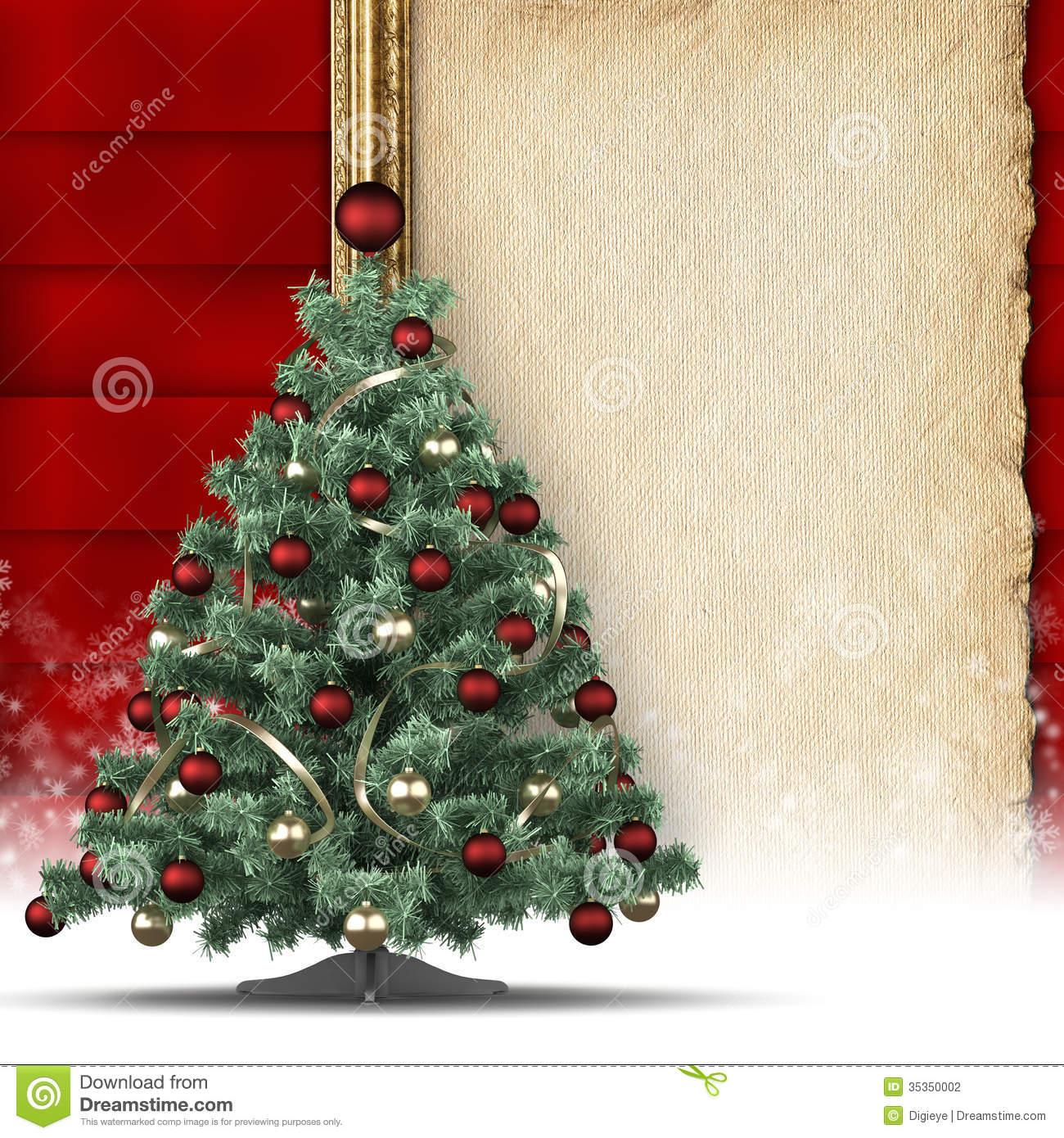 Christmas Background Tree And Paper Sheet Stock