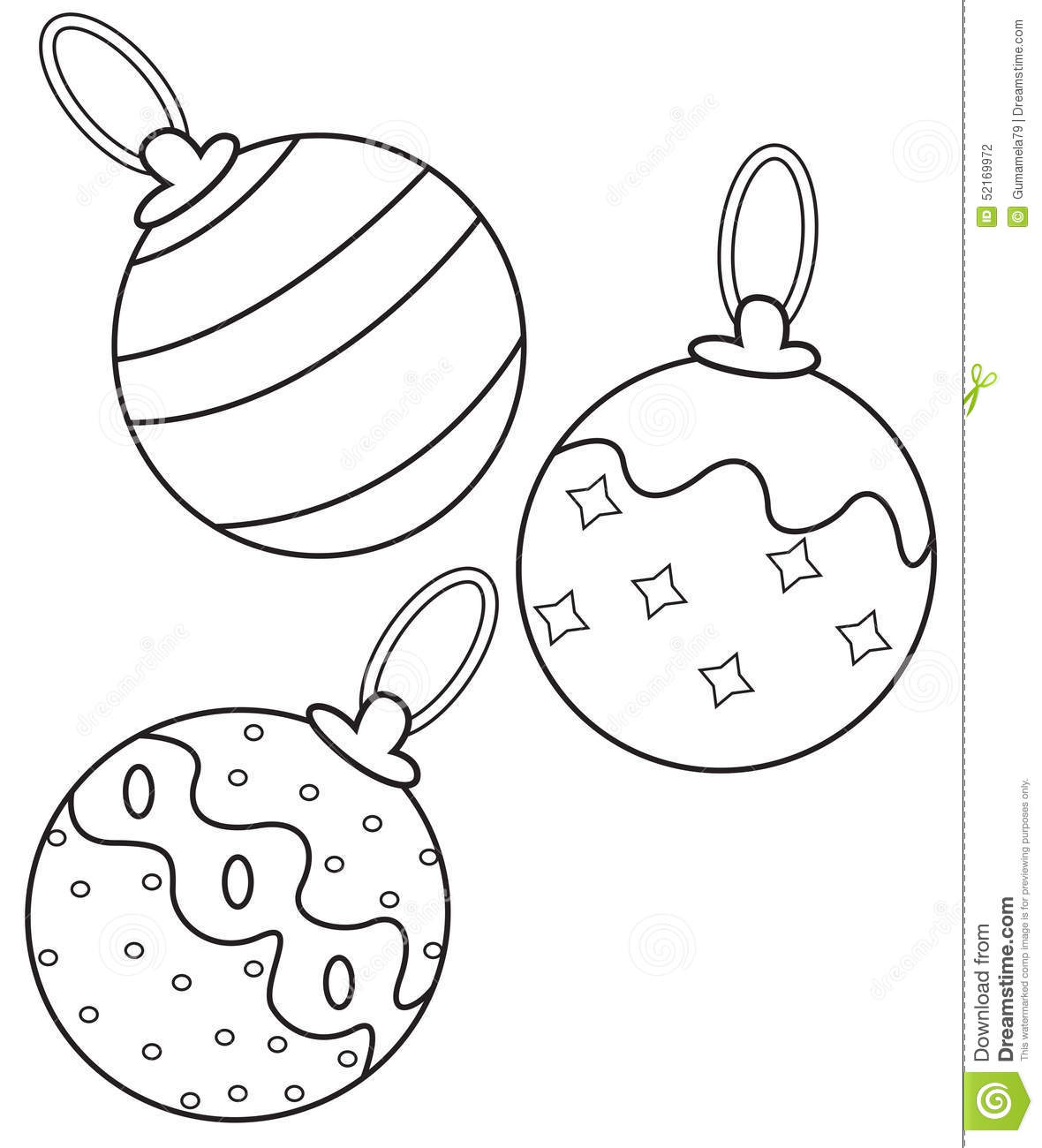 Christmas Balls Coloring Page Stock Illustration